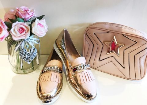 Rose Gold Chain Loafers